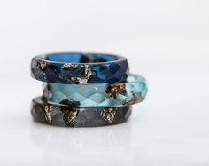 Azul indigo minimalista joyería azul resina apilamiento anillo
