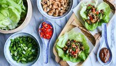 Chinese lettuce wraps (sung choi bao) filled with adzuki beans, shiitake mushrooms, peanuts, and homemade hoisin sauce. | by Maikin mokomin #vegan