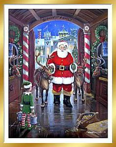 Santa's Finest by George Kovach ~ Santa and his reindeer at the North Pole.