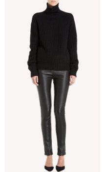 Heavy black turtleneck sweater, black leather leggings: The Row Hunstun Sweater