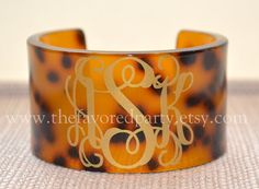 Monogrammed Tortoise Cuff Bracelet by TheFavoredParty on Etsy, $40.00