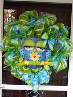 Owl deco Mesh Wreath. $95.00, via Etsy.