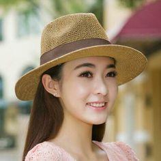 Fashion women panama straw hat summer UV beach sun hats