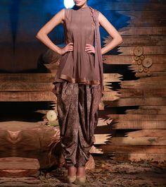 #Brown Pintucked #Georgette #Kurta #Set from #Soltee By #Sulakshana #Monga at #Indianroots