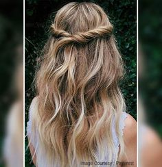 Twisted Half-Up Hairstyle  Regardless if you have curly, straight or wavy hair, this hairstyle is for you! Just simply gather a thin strand of your hair on both sides twist it and pin it at the back. It is easy to do, but it is a lot more, interesting than the usual half-up style.