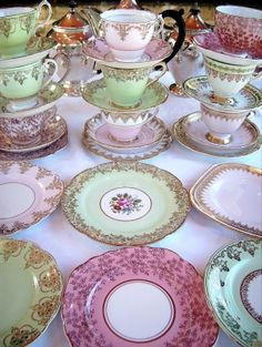 Vintage English fine bone china trios of matched cups, saucers and tea plates. http://thevintagetable.com.au
