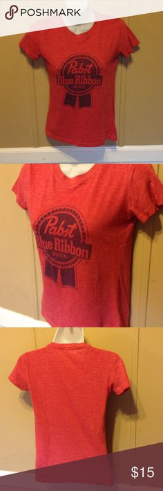 PBR // Pabst Blue Ribbon Sexy Fitted Tee SOFT and cozy. Distressed red in color. This tee came straight from the pabst guy. Not sold in stores. This tee is fitted and fits snug and cute. Tops Tees - Short Sleeve