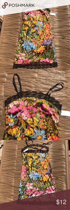 Gorgeous lace trim floral beauteous slip/gown Gorgeous flWless black lace trim with florals of colors. Sz xs beauteaous Intimates & Sleepwear Chemises & Slips