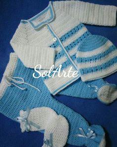 Ajuar de varón talla recién nacido, crochet, ropita tejida de bebé.