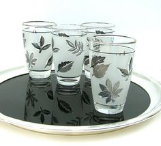 Mid Century Libby Glasses Silver Leaves by OurModernHistory