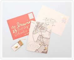 Adore these invites. Love the handwriting and hand drawn map elements.