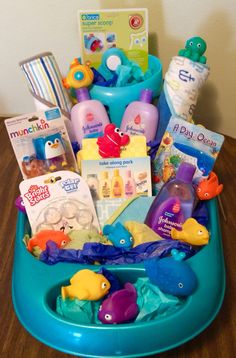 """""""Under the Sea"""" bath time gift basket * Use items from her baby registry & create something fun! #HDCreations HDCreations32@gmail.com"""