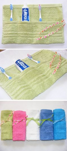 Hand towel sewn to hold toothbrush, etc. Keeps the wet mess in one spot, then toss in the wash. (Only a picture, no instructions but look self explanitory)
