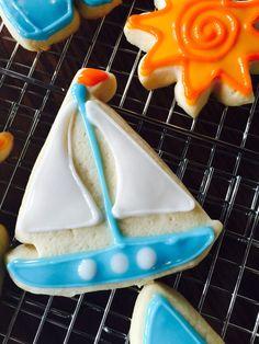 Sailboat sugar cookie