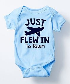 Look what I found on #zulily! Light Blue 'Just Flew in to Town' Bodysuit - Infant #zulilyfinds
