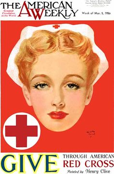 """""""Give Through American Red Cross"""", illustrated by Henry Clive for the American Weekly, March 1950."""