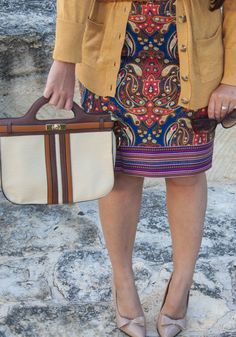 Paisley skirt and gold sweater