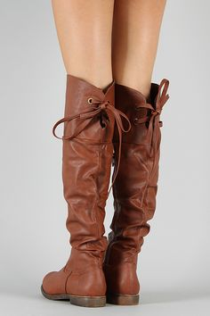 Slouchy Lace Back Thigh High Boot