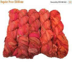 SALE New Sari Silk Ribbon 100g  Coral / Pink by SilkDivine on Etsy