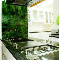 An images printed on the back of a kitchen glass splashback