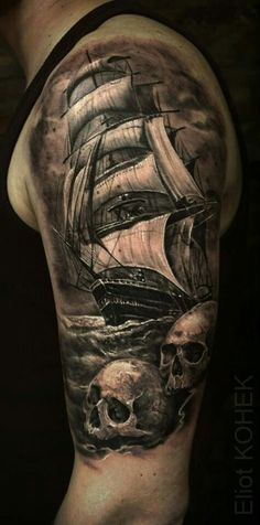 sailor ship tattoos two skull Pirate Tattoo Sleeve, Ship Tattoo Sleeves, Pirate Skull Tattoos, Pirate Ship Tattoos, Pirate Boat Tattoo, Tattoo Ship, Sweet Tattoos, Tattoos For Guys, Tattoo Barco