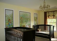 Okay - I LOVE LOVE LOVE this idea for a nursery!  I love the classy look of the dark wood cribs and I love the vintage Peter Cottontail murals on the wall.  And a Chandelier?  Really?  Whoduvthunk?