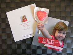 School Valentines 2012 (Photo + printed card + exacto knife + lollipop)