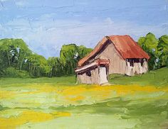Original Painting California Plein Air Impressionist Landscape FARMHOUSE BARN Meadow GARDEN 11x14 Free Shipping Lynne French
