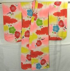 Babies' & Children's #216855 Kimono Flea Market Ichiroya  This is a cute girl's kimono with pretty ume (plum blossoms) and cloud pattern colorfully dyed.  Textile is soft rinzu silk with damask effect of cloud pattern.