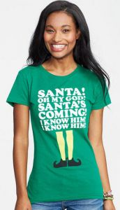 "Christmas Gifts for Teens: Elf ""Santa's Coming"" T-shirt @ Delia's"