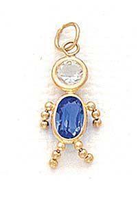 14k 3x5mm Boy September Birthstone CZ Pendant - JewelryWeb JewelryWeb. $102.50