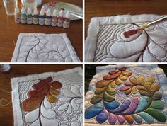 Fun With Fabric Painting: Supplies and Techniques Get familiar with painting fabric for your quilts. Painting quilts is a great way to add artistic flair to your fabric, either before or after quilting. Fabric Painting, Fabric Art, Fabric Crafts, Sewing Crafts, Sewing Projects, Paint Fabric, Fabric Dolls, Painting Art, Quilting Tutorials