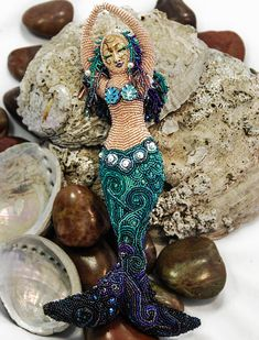 Emergence  Beaded Mermaid Art Doll by AutumnSkyAdornments on Etsy, $2200.00