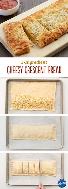 Crescent Cheesy Bread Why order delivery when you can have delicious cheesy bread fresh from your oven in half an hour?Why order delivery when you can have delicious cheesy bread fresh from your oven in half an hour? Crescent Bread, Crescent Rolls, Crescent Dough, Cresent Dough Recipes, Cresent Roll Pizza, Cresent Roll Appetizers, Pillsbury Crescent Roll Recipes, Pan Relleno, Pillsbury Recipes