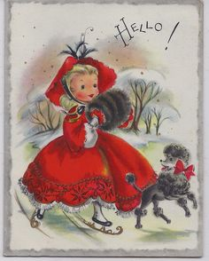 Vintage used Greeting Card Christmas Girl in Red on Ice Skates - the type of Christmas card that I grew up with.