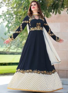 Buy Gorgeous Navy Blue Colored Designer Embroidered Partywear Georgette Abaya Style Anarkali Suit at Rs. Get latest Embroidered Suit for womens at Peachmode. Designer Anarkali, Designer Salwar Suits, Designer Gowns, Designer Wear, Robe Anarkali, Costumes Anarkali, White Anarkali, Lehenga, Abaya Fashion