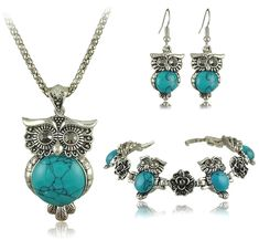 Turquoise jewelry Vintage - New Brand Design Owl Jewelry Set Tibetan Vintage Silver Retro Turquoise Stone Pendant Necklace Cutedrop Earring Charm Bracelet Owl Jewelry, Stone Jewelry, Metal Jewelry, Jewelry Sets, Silver Jewelry, Women Jewelry, Jewelry Stores, Silver Ring, Silver Earrings