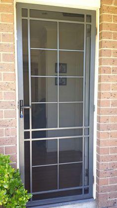 Steel security door with stainless steel mesh installed in Mordialloc. Home Door Design, Door Design Interior, Wooden Door Design, Main Door Design, Metal Screen Doors, Front Door With Screen, House Front Door, Main Entrance Door, Front Gate Design