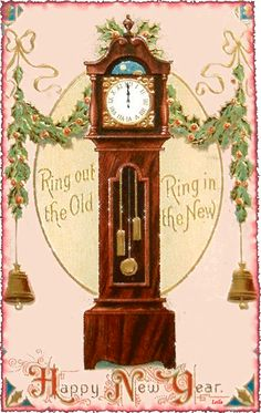 Vintage New Year Postcard of old grandfather clock. Vintage Happy New Year, Happy New Year Cards, New Year Greeting Cards, New Year Greetings, Vintage Greeting Cards, Vintage Postcards, Vintage Images, Christmas Gift Tags, Vintage Christmas Cards