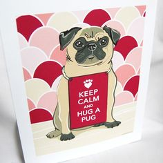 Keep Calm Pug on Pink Scaled Background - Eco-friendly 7x9 Print