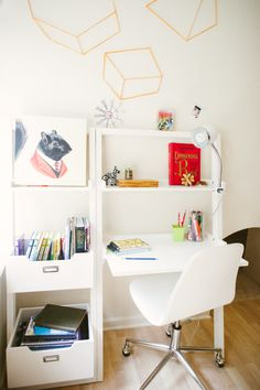 At home office for kids: http://www.stylemepretty.com/living/2016/12/08/5-kids-bedrooms-youll-be-totally-jealous-of/ Photography: Yazy Jo - http://www.yazyjo.com/