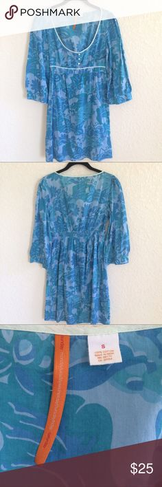 """Anthropologie Blue Green Linen Tunic Dress - Anthropologie Saturday Sunday - Empire elastic waist dress. Wide 3/4 sleeves. Lightweight dress.  - Length 36"""" - Preowned Condition. No rips or stain. No Trades. Anthropologie Dresses Midi"""