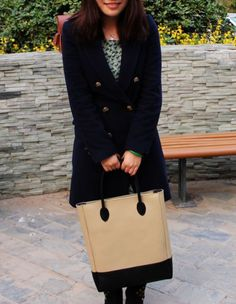 Cream & Black Tote
