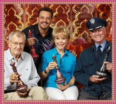 The Cast of I Dream of Jeannie with their bottle gifts and Mario Della Casa (Jeannie Bottle Artist)