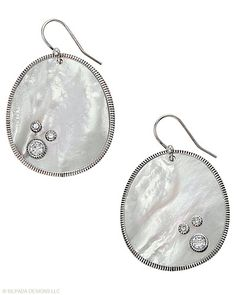 """This pair won't get lost in your hairdo! The shimmery shell and """"water drop"""" Cubic Zirconia will stand out. Mother-of-Pearl, Cubic Zirconia, Sterling Silver"""