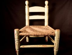 """Large 18"""" Wooden Doll Chair Rush Seat Rustic Hand Crafted"""