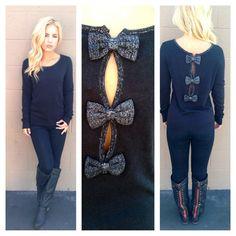 Black Bow Back Sweater @Katrina Zarzycki !!!!!