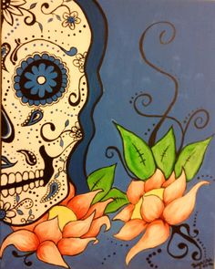 Original acrylic artwork sugar skull Blue Lotus by PrettyBright, £65.00