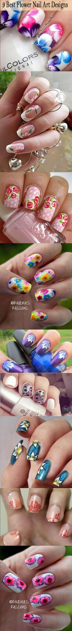 9 Best Flower Nail Art Designs<3<3<3