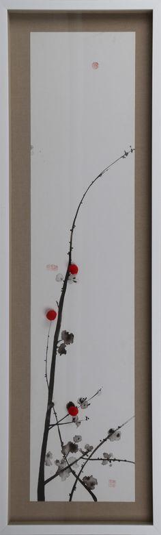 善行一品实物画客厅沙发玄关装饰画装饰画酒店东方腊梅系列45x145